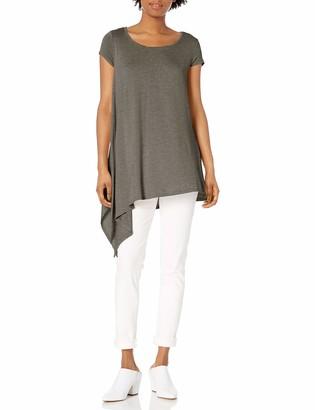 Paper + Tee Women's Scoop Neck Asymmetrical Hem Knit Top