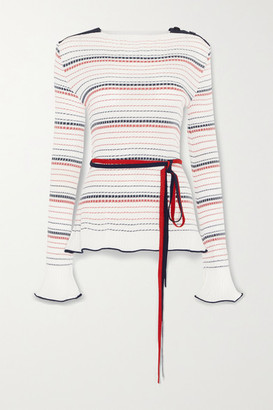 Roland Mouret Edlin Belted Striped Ribbed-knit Sweater - White