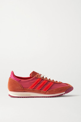 adidas + Wales Bonner Sl 72 Shell, Leather And Suede Sneakers - Bubblegum
