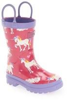 Hatley Toddler Girl's 'Unicorns & Rainbows' Waterproof Rain Boot