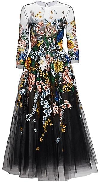 Oscar de la Renta Floral-Painted Tulle Cocktail Dress