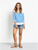 Hush Zoe Stripe T-Shirt, White/French Blue