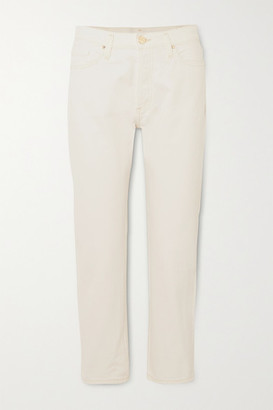 Gold Sign Net Sustain The Low Slung Cropped Mid-rise Straight-leg Jeans - White