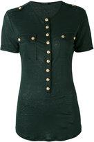 Balmain button t-shirt - women - Linen/Flax - 38