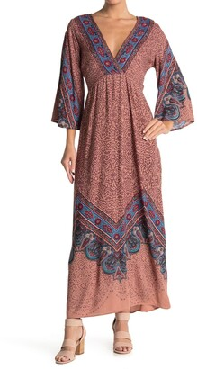 Angie Printed Bell Sleeve Maxi Dress