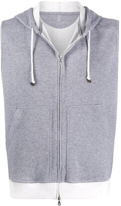 Brunello Cucinelli Sleeveless Drawstring Hoodie