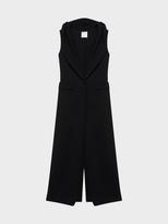 DKNY Long Sleeveless Wool Blazer With Hood