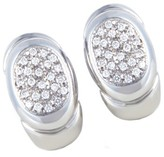Chimento 18K White Gold Partial Diamond Pave Oval Huggie Earrings