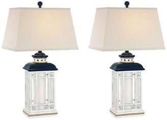 Studio 21 Seahaven Coastal Lantern Table Lamp, Set Of 2, Navy Blue