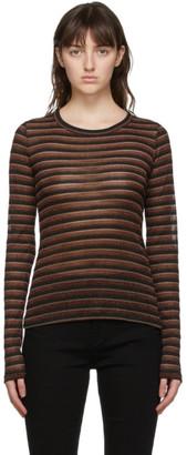 Rag & Bone Brown Metallic Stripe Long Sleeve T-Shirt