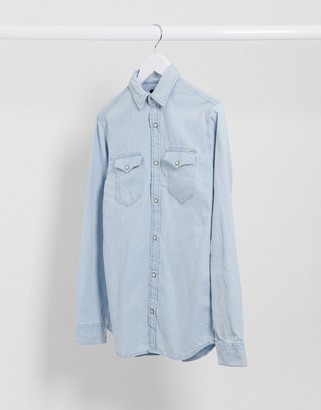 Jack and Jones Essentials denim shirt in light blue