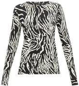 Proenza Schouler Zebra-print Cotton-jersey Long-sleeve T-shirt - Womens - Black White