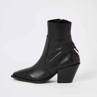 River Island Womens Black leather pointed toe ankle boots