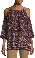 Max Studio Cold-Shoulder Floral-Print Top, Bordeaux