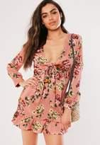 Missguided Petite Pink Floral Print Skater Dress