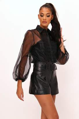 I SAW IT FIRST Black Sheer Puff Sleeve Top