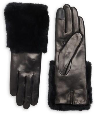 Carolina Amato Rabbit Fur-Trim Leather Gloves