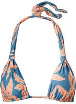 Vix Margarita Bia Printed Triangle Bikini Top - Peach