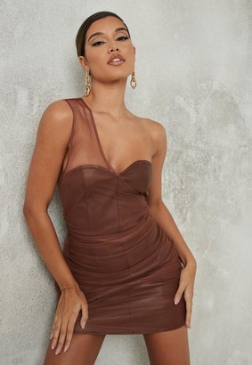 Missguided Brown Faux Leather Mesh One Shoulder Mini Dress