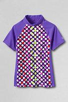 Classic Girls Plus Size Mock Neck Rashguard-Winter Violet Dots