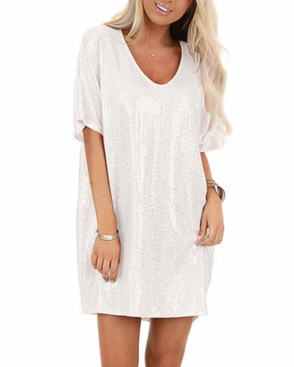 YOINS Women Sparkly Sequin Mini Dresses Batwing Sleeve Round Neck Sexy Glitter Party Dresses Casual Blouse Clubwear White L