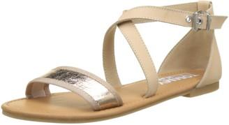 Tommy Jeans Hilfiger Denim Women's Metallic Flat Sandal Ankle Strap