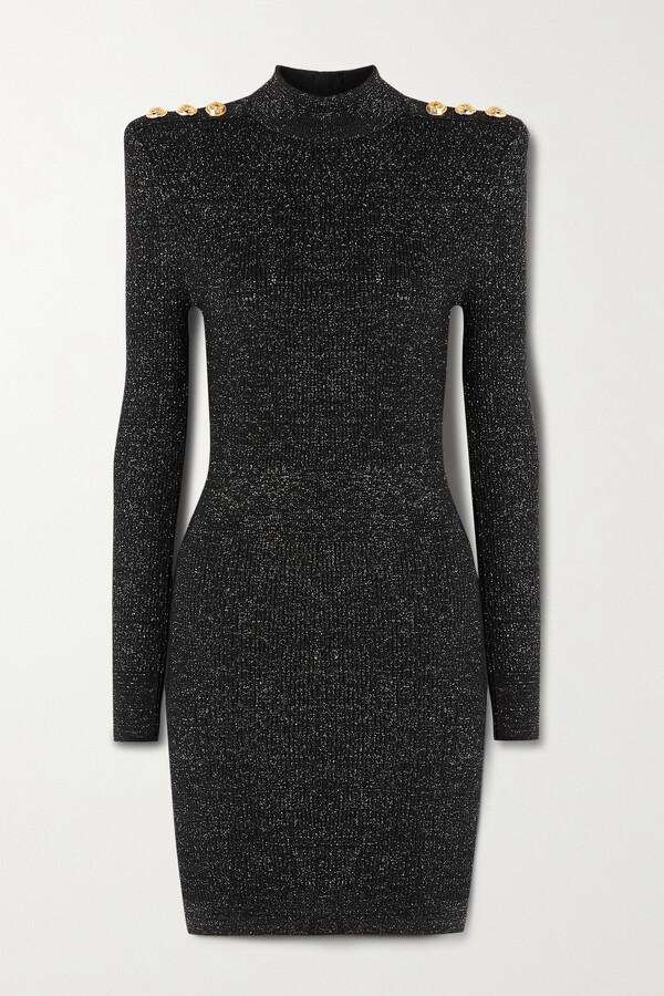 Thumbnail for your product : Balmain Button-embellished Metallic Ribbed-knit Turtleneck Mini Dress - Black