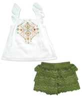 Young Hearts Toddler Girls' Swiss Dot Top with Crochet Scallop Lace Short - White