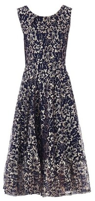 Dorothy Perkins Womens *Jolie Moi Blue Floral Print Lace Flare Hem Midi Dress, Blue