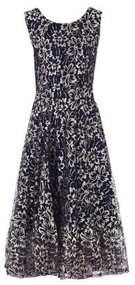 Dorothy Perkins Womens Jolie Moi Blue Floral Print Lace Flare Hem Midi Dress, Blue