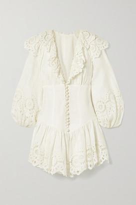 Zimmermann Bellitude Ruffled Broderie Anglaise-trimmed Swiss-dot Linen Mini Dress