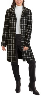 Jones New York Single-Breasted Printed Coat