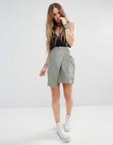 Boohoo Leather Look Wrap Skirt