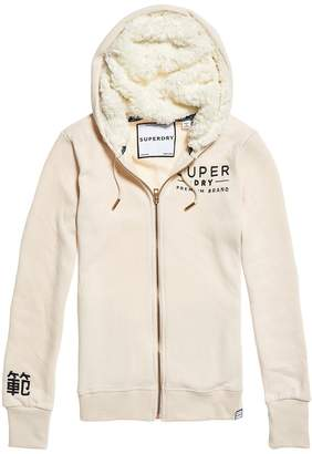 Superdry Applique Zip-Up Hoodie in Cotton Mix with Faux Sheepskin Lining