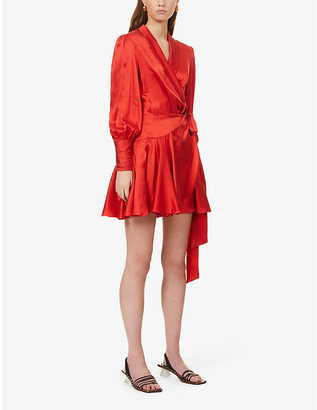 Zimmermann Ruffled silk-charmeuse mini wrap-dress