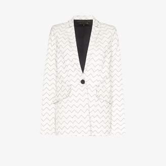Magda Skiim Womens White Zigzag Leather Blazer