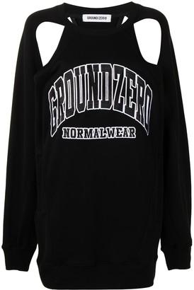 Ground Zero Logo-Embroidered Cut Out Sweatshirt