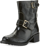 RED Valentino Perforated Leather Buckle Bootie, Black (Nero)