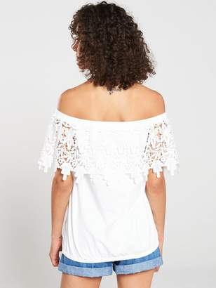 Very Scallop Lace Bardot Top - Ivory