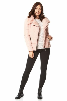 Roman Originals Women Faux Fur Collar Padded Coat - Ladies Puffer Jacket with Pockets Asymmetric Diagonal Zip Comfy Day Casual Autumn Winter Thick Lined Fashion Bubble Biker - Pink - Size 12