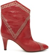 Isabel Marant Demka Eyelet-embellished Leather Ankle Boots - Womens - Red