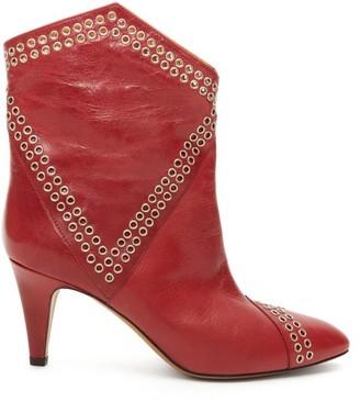 Isabel Marant Demka Eyelet-embellished Leather Ankle Boots - Red