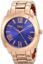 TKO ORLOGI Women's Big Navy Deep Blue Face Rose Gold Boyfriend Oversized Watch