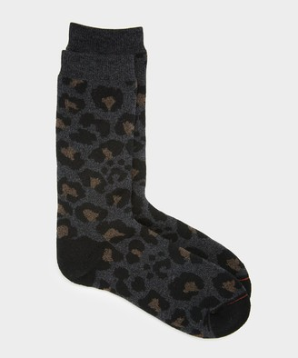 RoToTo Pile Leopard Socks in Charcoal