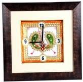 Radha Krishna Shop Marble Clock with Minakari Work