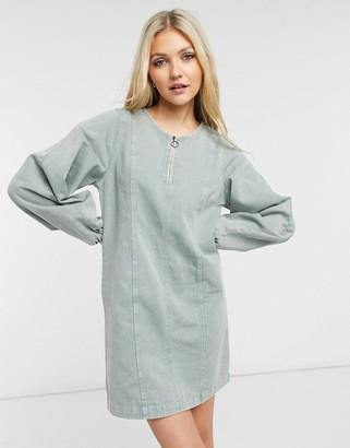 Noisy May denim mini dress with zip front in grey acid wash