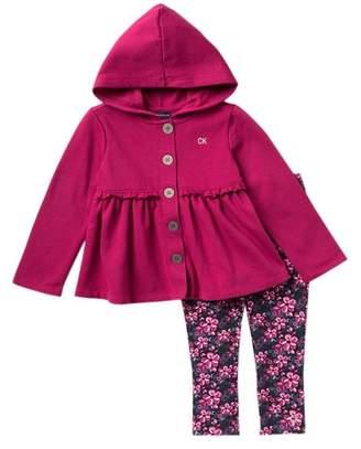 Calvin Klein Hooded Fleece Jacket & Leggings Set (Little Girls)