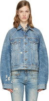 R 13 Blue Denim Raglan Trucker Jacket