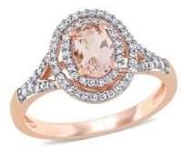 Sonatina 14K Rose Gold, Morganite & 0.25 TCW Diamond Double-Halo Ring