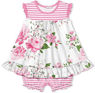 Little Millie Girls' Infant Bodysuits Wedding - White & Pink Stripe Wedding Floral Skirted Bubble Bodysuit - Infant